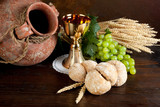 Communion wine and bread