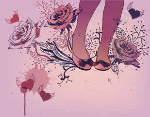vector  background with  trendy ballets and blooming roses