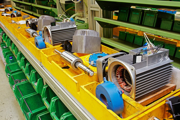 parts of electric motors assembled for the final mounting