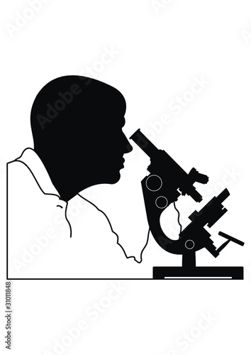 Vector silhouette of man's head and microscope