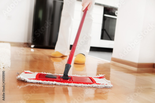 House cleaning -Mopping hardwood floor - 31011890