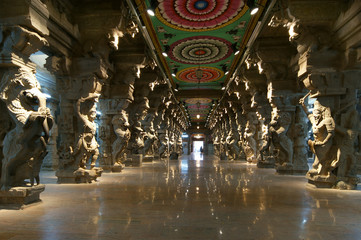Inside of Meenakshi hindu temple in Madurai, Tamil Nadu, india
