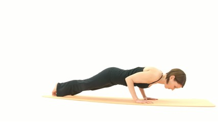 Yoga Asana in sequence: Plank, Upward Facing Dog, Backbend