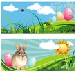 Set of spring easter banners with rabbit and eggs