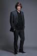 Handsome man in gray suit