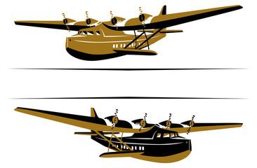retro airplane boat