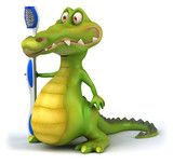 Crocodile et brosse à dents - 31025856