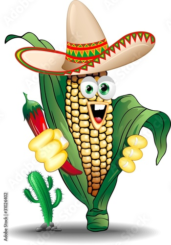 Mais Pannocchia Messico Cartoon-Mexico Corn Cob-Vector