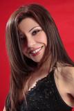 Smiling woman long lustrous hair poster