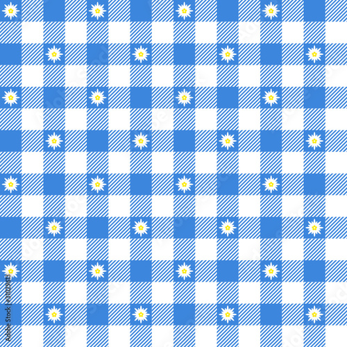 Seamless Pattern Check Blue/White Edelweiss Octoberfest