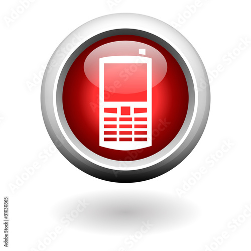 Mobile Phone Icon on Red Round Button