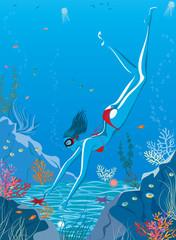 Girl in bikini swimming underwater in blue lagoon