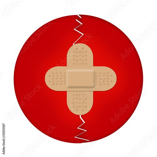 Japan flag with one adhesive bandage