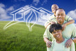 Happy African American Family and Green House Graphic in Field