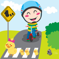 Boy on tricycle waiting in front of a ducks crossing sign