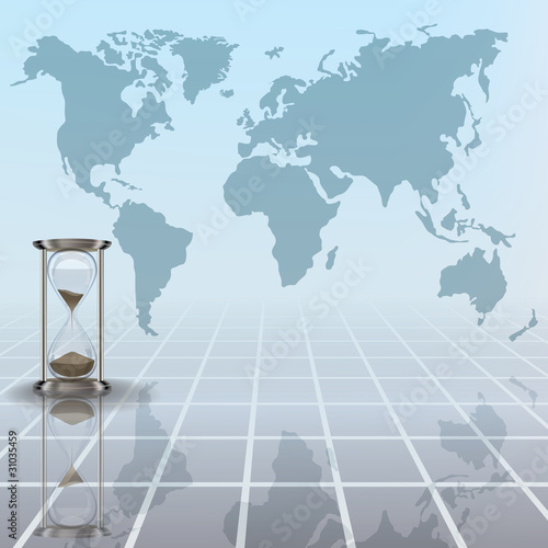 abstract illustration with hourglass and earth map