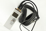 Digital voice recorder and headphone.