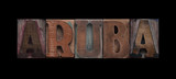 Aruba in old wood type