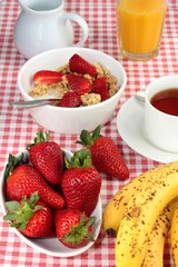 Summer breakfast with cereal and fruit