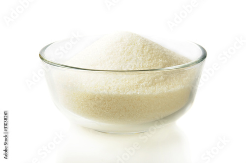Sugar in a glass bowl