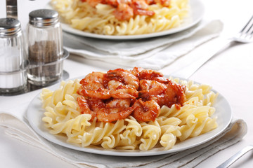 Pasta with tomato and shrimps