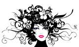 Fototapety Frauenkopf mit Blüten und Ranken