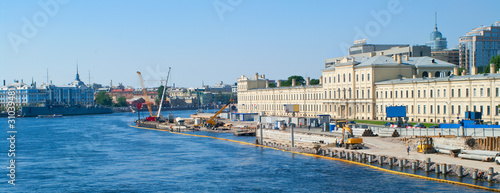 construction on quay of the river Neva