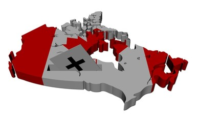 Canada election map with ballot paper illustration
