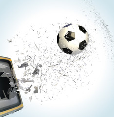 tv broken by soccer ball. 3d picture