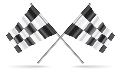 Vector two crossed checkered flags with optional ground shadows.