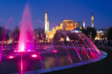 Night view of Hagia Sophia (Aya Sofia) mosque