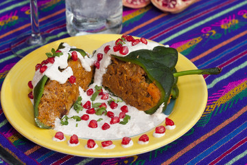 Chile ennogada traditionnal mexican dish