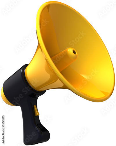 Megaphone news blog message. Shiny yellow black siren