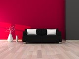 Fototapety Interior of the modern room, grey and pink wall and black sofa