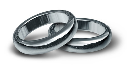 Titanium silver wedding bands