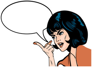 announcement young woman speaking comics book style emblem