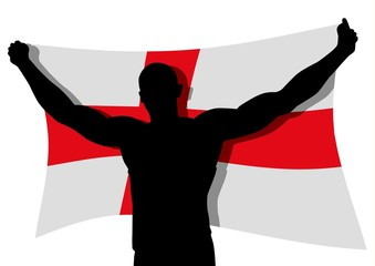 Vector illustration of a man figure carrying the flag of England