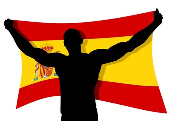 Vector illustration of a man figure carrying the flag of Spain