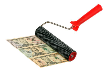 Paint roller and money