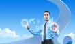 Young businessman using futuristic hologram interface