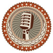 Illustrated vintage badge with old microphone.