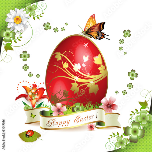 Easter card with butterflies and decorated egg on grass