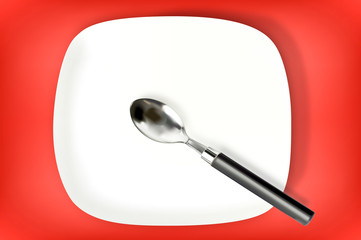 Spoon and red background