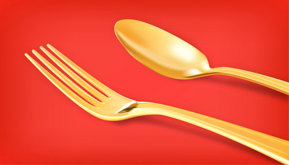 Golden spoon on red background