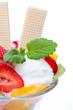 Ausschnitt von Eisbecher Früchtebecher