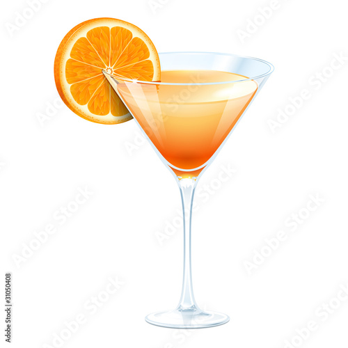 Orange cocktail in a glass for martini