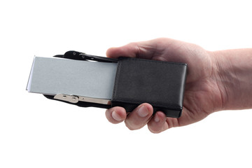 Leather visiting-card box in man's hand