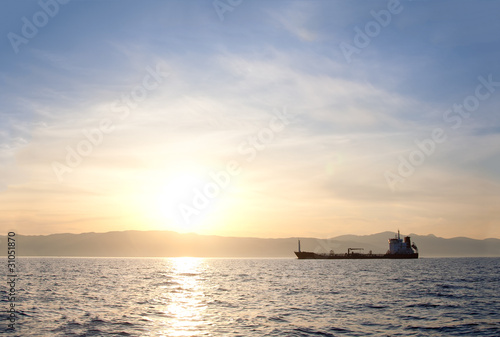 Bulk-carrier ship at sunset - 31051870
