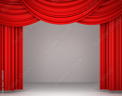 3d red theater curtain on white background