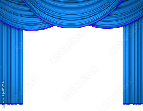 3d blue theater curtain on white background
